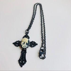 Black Cross Skeleton Cameo Necklace